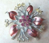 Vintage Pink Enamel Flower Brooch With Rhinestones.